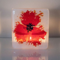 Poppy Fused Glass Tea-light Candle Holder