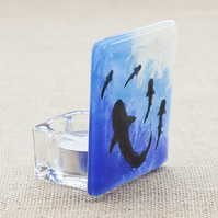 Fused Glass Shark Tea-Light Candle Holder