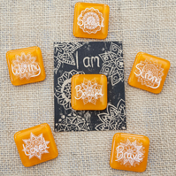 Orange Motivational Positive Thinking Glass Enamel Pin Badge