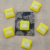 Yellow Motivational Positive Thinking Glass Enamel Pin Badge