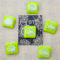 Green Motivational Positive Thinking Glass Enamel Pin Badge
