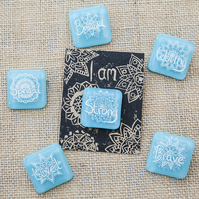 Light Blue Motivational Positive Thinking Glass Enamel Pin Badge