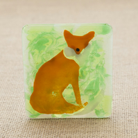 Fused Glass Fox Tea-Light Candle Holder
