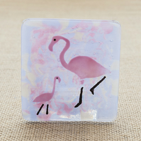 Fused Glass Flamingo Tea-Light Candle Holder