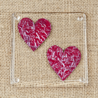 Love Heart Fused Glass Coasters Two Hearts