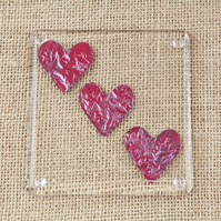 Love Heart Fused Glass Coasters Three Hearts