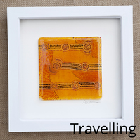 'Travelling' Original Aboriginal-inspired Fused Glass Picture