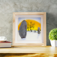 'Sunrise Over Avebury' Stone Circle Fused Glass Framed Painting - Original