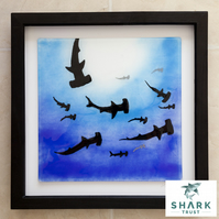 'School of Hammerhead Sharks' Fused Glass Framed Painting - Original