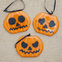 Carved Pumpkin Fused Glass Halloween Decorations