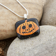 Scared Carved Pumpkin Etched Dichroic Fused Glass Halloween Pendant Necklace