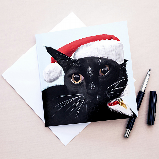 Crazy Cat, Merry Catmas Christmas Greetings Card
