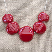 Chunky Bright Red Fused Glass Statement Necklace Jewellery