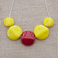 Chunky Bright Yellow and Red Fused Glass Statement Necklace Jewellery