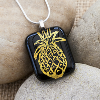 Golden Yellow Pineapple Necklace Etched Dichroic Fused Glass Pendant