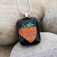 Red Strawberry Necklace Etched Dichroic Fused Glass Strawberry Pendant