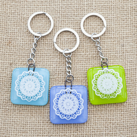 Mandala Fused Glass Keyrings Keychains Screen-printed Enamel Design One
