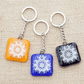 Mandala Fused Glass Keyrings Keychains Screen-printed Enamel Design Three