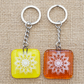 Mandala Fused Glass Keyrings Keychains Screen-printed Enamel Design Four