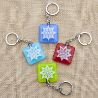 Mandala Fused Glass Keyrings Keychains Screen-printed Enamel Design Five