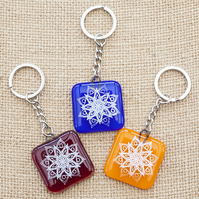 Mandala Fused Glass Keyrings Keychains Screen-printed Enamel Design Six