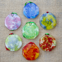 Colourful Marbled Fused Glass Christmas Round Decorations