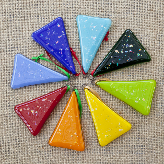 Colourful Fused Glass Dichroic Christmas Xmas Tree Decorations