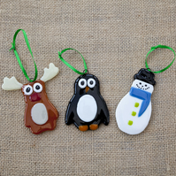Cute Penguin Reindeer Snowman Fused Glass Christmas Xmas Decorations