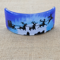 Santa's Sleigh Silhouette Freestanding Fused Glass Picture Ornament