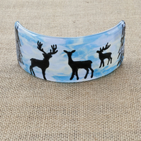 Norwegian Reindeer Silhouette Freestanding Fused Glass Picture Ornament
