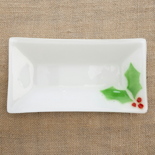 Festive Christmas Holly Fused Glass Snack Dish Plate