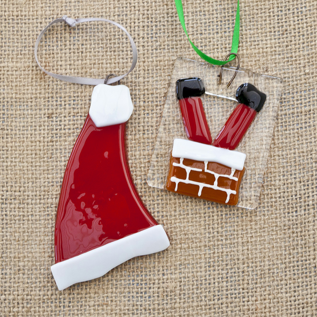 Santa's Hat and Santa Going Down A Chimney Fused Glass Christmas Decorations