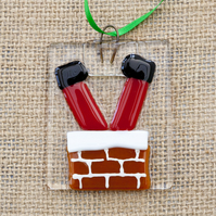 Santa Going Down A Chimney Fused Glass Christmas Decorations
