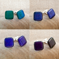 Green, Blue and Purple Dichroic Fused Glass Cufflinks
