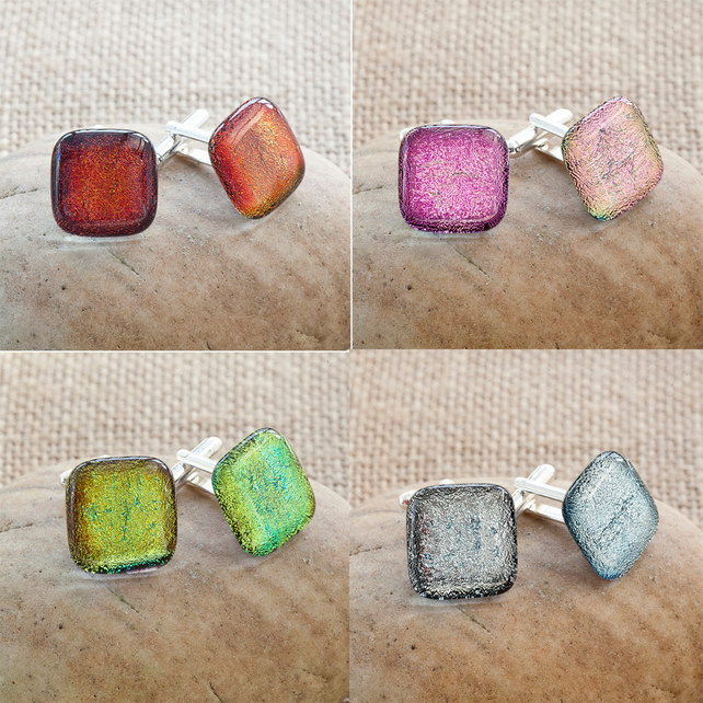 Red, Pink, Yellow and Silver Dichroic Fused Glass Cufflinks