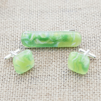 Marbled Green Fused Glass Cufflink and Tie Bar Set