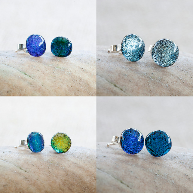 Colourful Dichroic Fused Glass Sterling Silver Stud Earrings