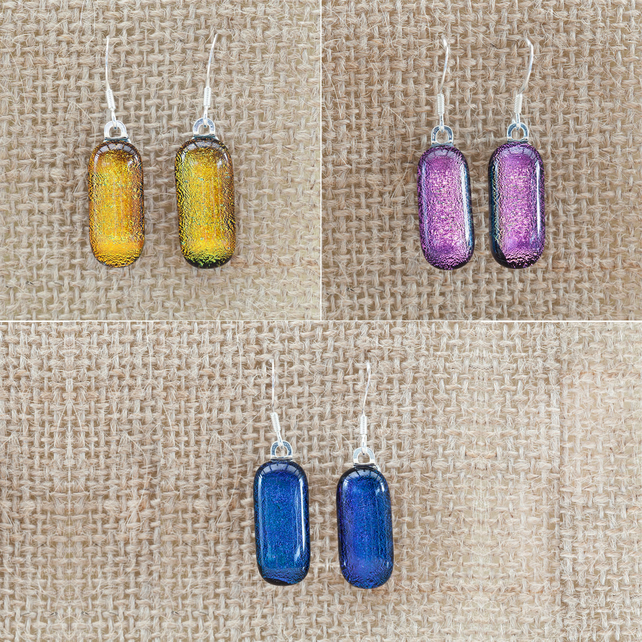 Colourful Dichroic Fused Glass Sterling Silver Drop Dangly Earrings