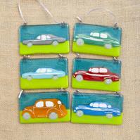 Vintage Retro Fused Glass Car Vehicle Decorative Hanging Sun Catcher