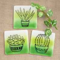 Fused Glass Plant Cactus Succulent Aloe Green Drinks Coaster