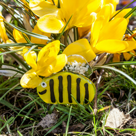 Cute Bumble Bee Fused Glass Plant Pot Garden Decorations Ornaments