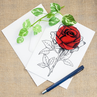 Red Rose Flower Greetings Card Romantic Anniversary Illustrated Card