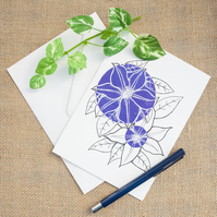 Purple Clematis Flower Greetings Card Birthday Mother's Day Illustrated Card