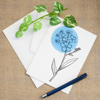 Blue Forget-Me-Not Flower Greetings Card Birthday Mothers Day Illustrated Card