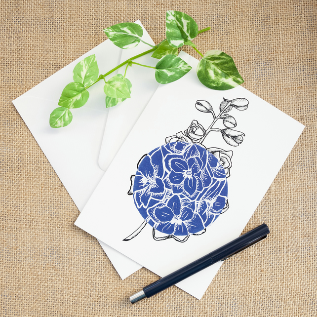 Dark Blue Delphinium Flower Greetings Card Birthday Mothers Day Illustrated Card