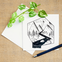 Angular Geometric Mountain and River Landscape Greetings Card