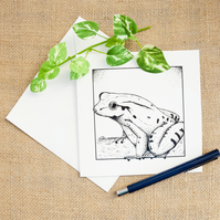 Mountain Chicken Frog Greetings Card Frog Birthday Card Original Artwork