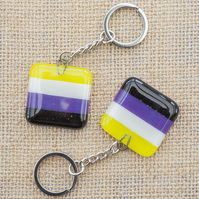 Non-Binary Pride Fused Glass Keyring Keychain LGBTQ