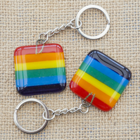 Rainbow Gay Pride Fused Glass Keyring Keychain