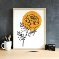 Minimalist Orange Marigold Flower Illustration Fine Art Print